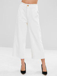 Wide Leg Frayed Trim Jeans - White M