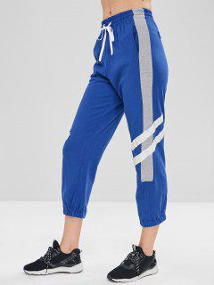 Drawstring Contrast Sports Pants - Blue