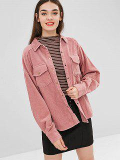 Buttoned Corduroy High Low Coat - Pink M