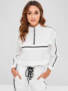 Striped Patched Half Zip Sweatshirt - White L