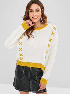 Criss Cross High Low Pullover - Weiß
