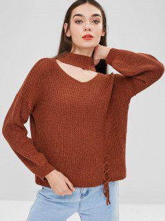 Choker Lace Up Sweater - Brown