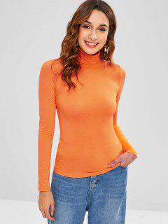 Camiseta Delgada De Cuello Alto De Manga Larga - Naranja De Calabaza