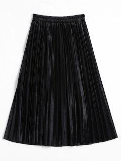 Falda De Terciopelo Midi De Acordeón Plisado - Negro