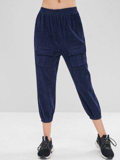 High Waisted Corduroy Joggers Pants - Midnight Blue