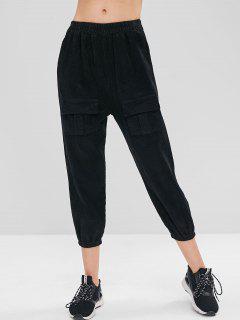 High Waisted Corduroy Joggers Pants - Black