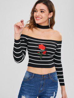 Tricot Ras-du-Cou Patch Rose Rayée - Noir
