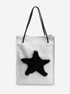Star Embellished Canvas Shoulder Bag - White