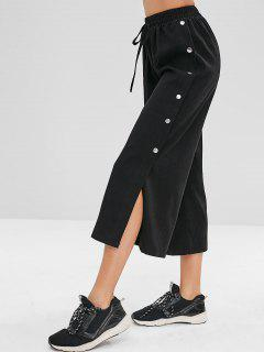 Buttons Side Slit Capri Pants - Black