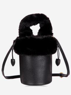 Faux Fur String Design Bucket Bag - Black