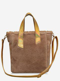Large Capacity Faux Fur Tote Bag - Brown