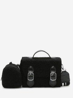 Bucket Fluffy 2 Pieces Crossbody Bag Set - Black