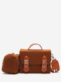 Bucket Fluffy 2 Pieces Crossbody Bag Set - Brown