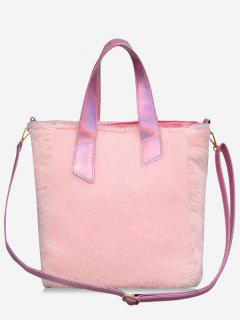 Large Capacity Faux Fur Tote Bag - Light Pink