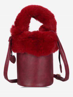 Faux Fur String Design Bucket Bag - Red Dirt