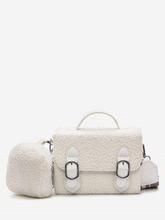 Bucket Fluffy 2 Pieces Crossbody Bag Set - White