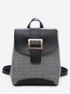 Plaid Pattern Buckle School Backpack - Black
