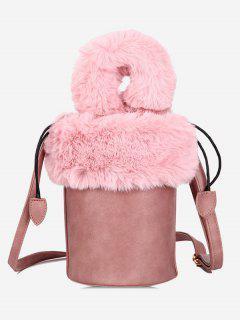 Faux Fur String Design Bucket Bag - Light Pink