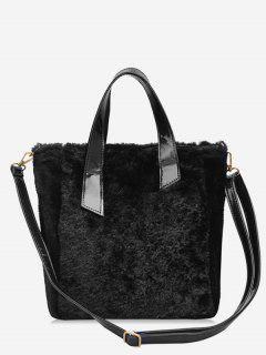 Large Capacity Faux Fur Tote Bag - Black