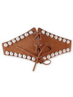 Stylish Faux Pearl Elastic Wide Waist Belt - Dark Goldenrod