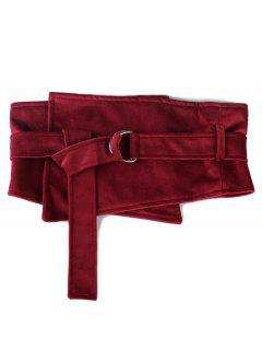 Metal Buckle Solid Color Wide Waist Belt - Cherry Red