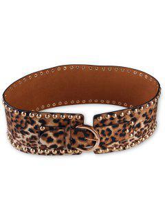 Metal Buckle Rivets Leopard Wide Waist Belt - Leopard