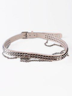 Metal Rivets Chain Faux Leather Punk Waist Belt - Beige