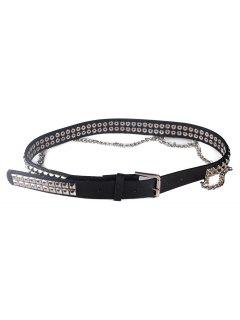 Metal Rivets Chain Faux Leather Punk Waist Belt - Black