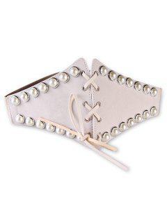 Stylish Faux Pearl Elastic Wide Waist Belt - Beige