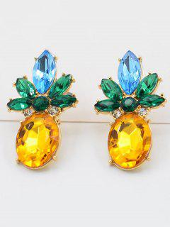 Rhinestone Pineapple Design Earrings - Gold