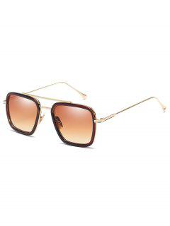 Metal Frame Crossbar Squared Sunglasses - Camel Brown