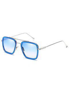 Metal Frame Crossbar Squared Sunglasses - Light Sky Blue