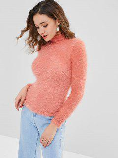 Eng Anliegender Flauschiger Pullover - Orange Rosa L