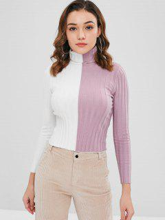 Two Tone Turtleneck Knitted Top - Wisteria Purple M