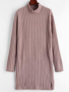 Mock Neck Pullover Kleid - Glyzinie Lila