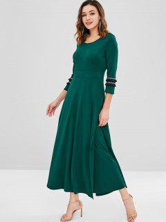 Side Pockets Fringed Maxi Dress - Medium Sea Green L