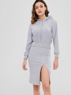 Hooded Slit Skirt Set - Gray S