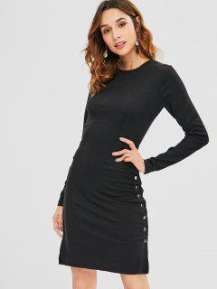 Long Sleeve Slit Bodycon Dress - Black M