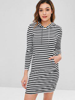 Kangaroo Pocket Striped Hoodie Dress - Black M