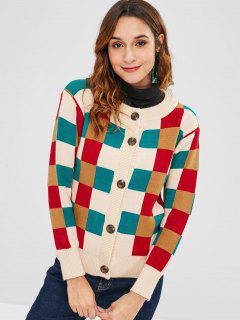 Button Up Plaid Cardigan Casual - Multicolor