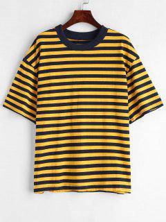 Camiseta Con Cuello Redondo A Rayas - Multicolor