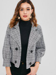 Houndstooth Double Breasted Wool Blend Coat - Black M
