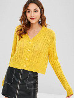 V-neck Cable Knit Cardigan - Yellow