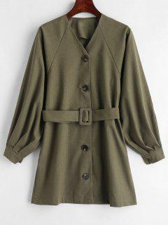 Raglan Sleeve Button Down Dress - Army Green
