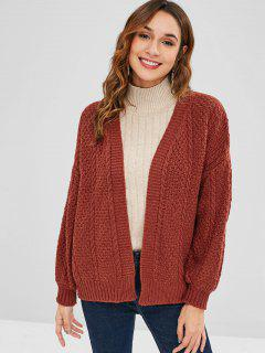 Lantern Sleeve Cable Knit Cardigan - Blood Red