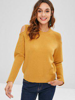 Pull à Epaule Dénudée à Manches Raglan - Orange D'or