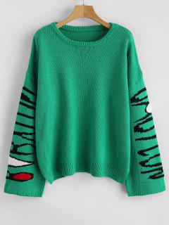Wide Jacquard Sleeve Oversized Sweater - Green