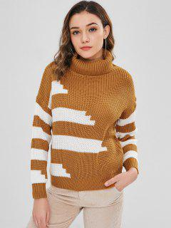 Pullover Turtleneck Stripes Sweater - Caramel