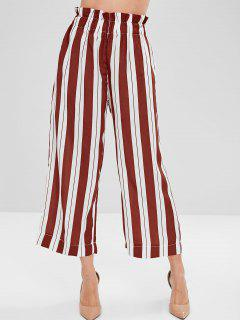 Wide Leg Striped Palazzo Pants - Multi L