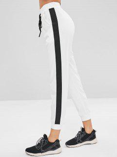 Side Stripe Lace Up Jogginghose - Weiß M